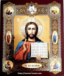 Icoana medalion Iisus Hristos binecuvantand