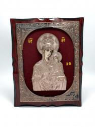 Icoana pe lemn  relief din bronz pe catifea rosie