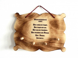 Placheta din lemn Binecuvantarea casei cu suport pentru chei