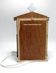 Candela electrica din lemn cu icoana Maicii Domnului spate