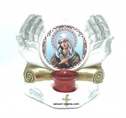 Candela ipsos maini cu icoana Maicii Domnului Umilenie