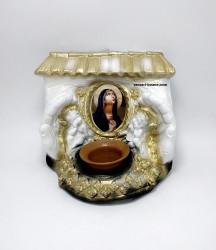Candela troita ceramica cu ingeri si icoana