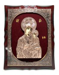 Icoana pe lemn in relief din bronz pe catifea