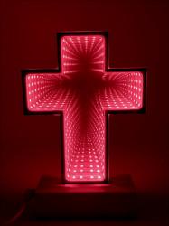 Veioza Cruce  tip tunel cu lumina rosie
