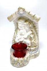 Candela ceramica alba cu pahar Sfanta Familie