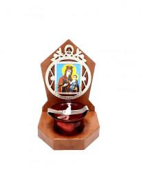 Candela Ortodoxa din lemn cu pahar Maica Domnului cu Pruncul
