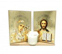 Set icoane sfintite pe suport si candela