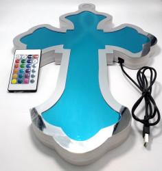 Veioza Cruce  cu lumina multicolora si telecomanda