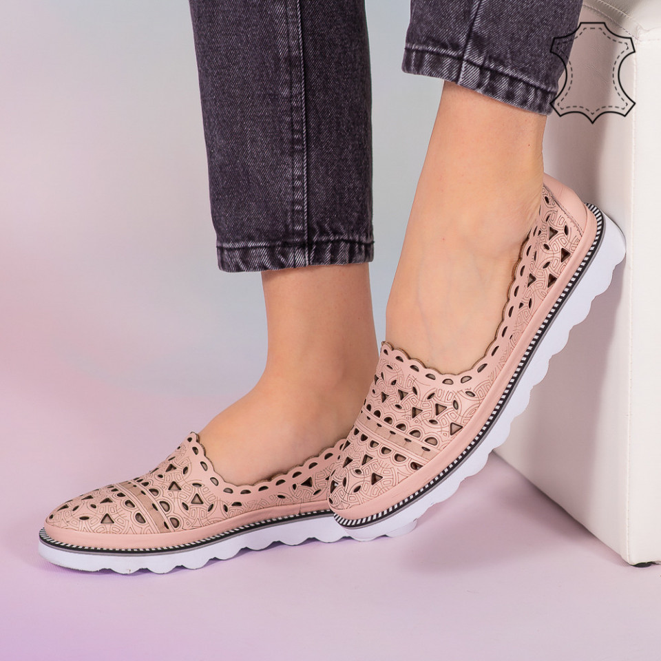 Pantofi piele naturala Bes roz