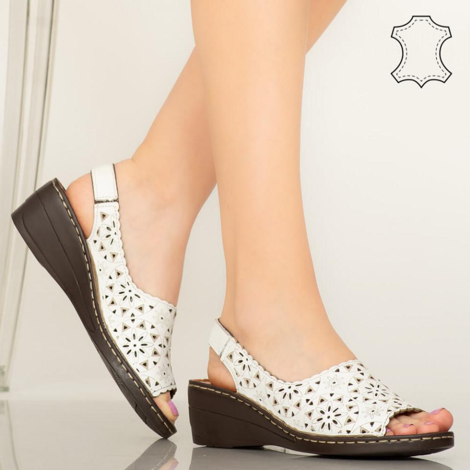 Pantofi piele naturala Crato albi