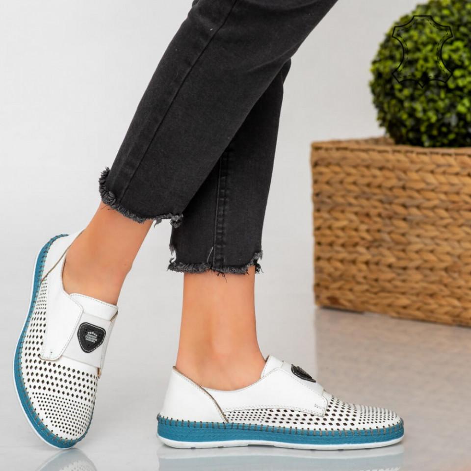 Pantofi piele naturala Laym albi