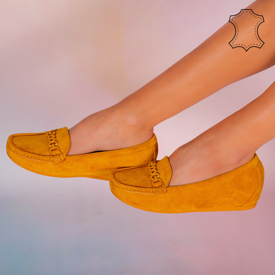 Pantofi piele naturala Melle galbeni