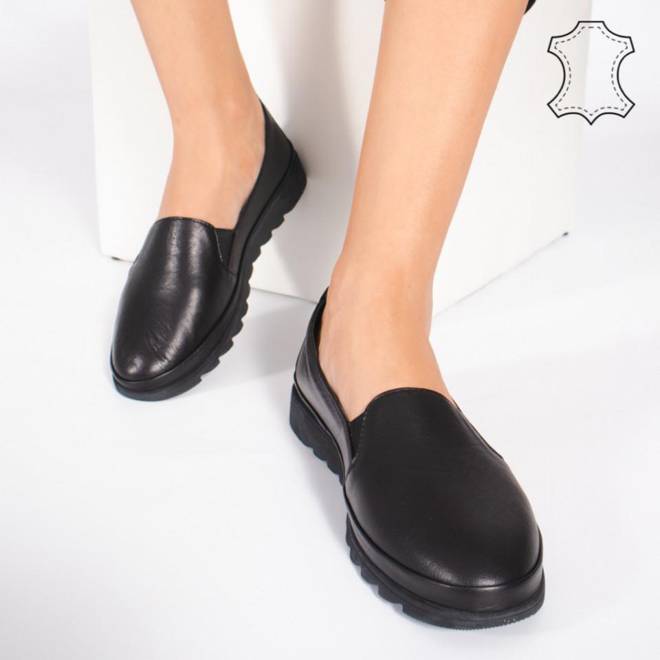 Pantofi Piele Naturala MUDE Negri