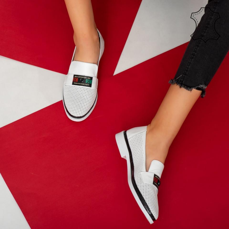 Pantofi piele naturala Pin albi