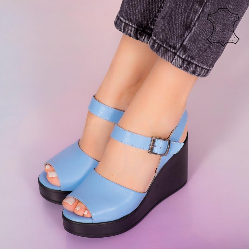Sandale piele naturala Bit albastre