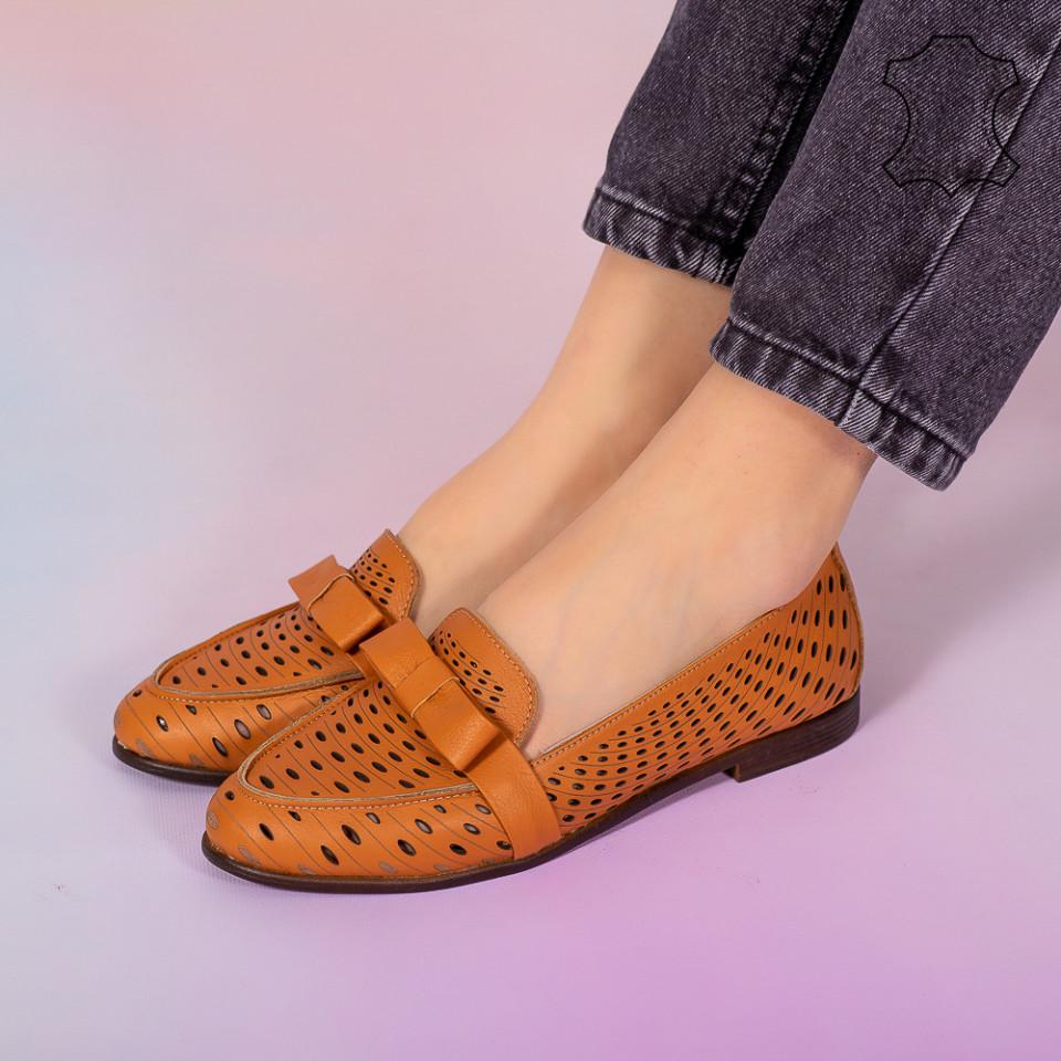 Pantofi piele naturala Bio bej