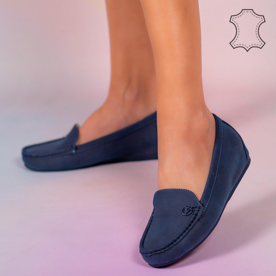 Pantofi piele naturala Mariu albastri