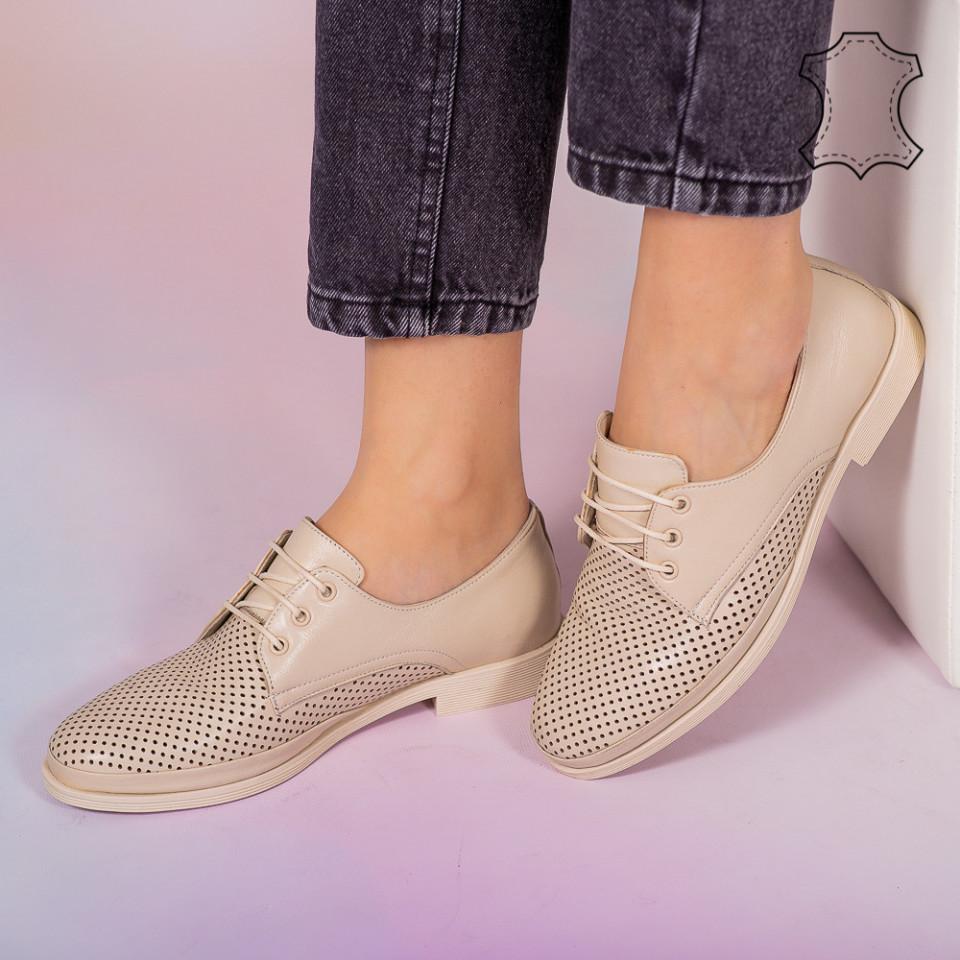 Pantofi piele naturala Boe bej