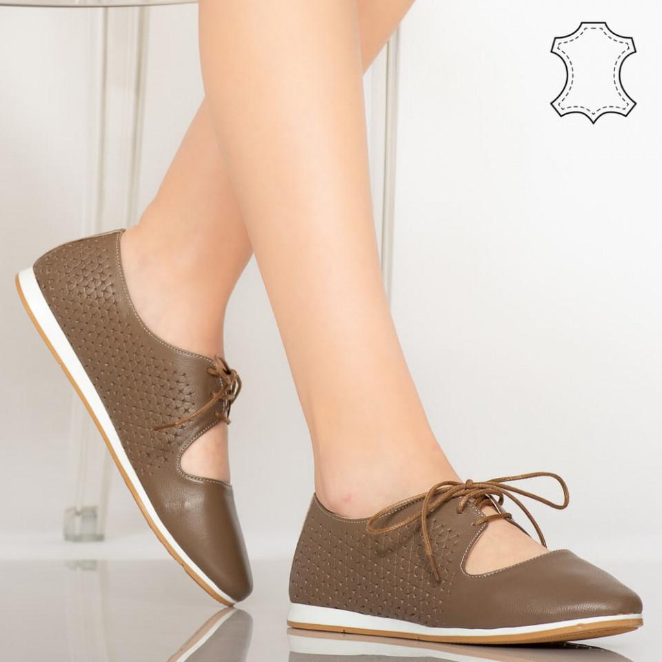 Pantofi piele naturala Esy maro