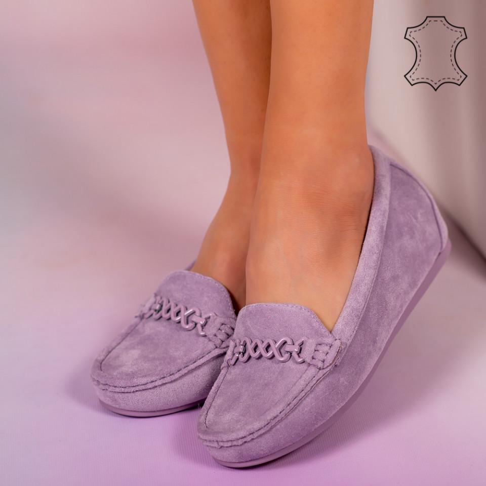 Pantofi piele naturala Melle mov