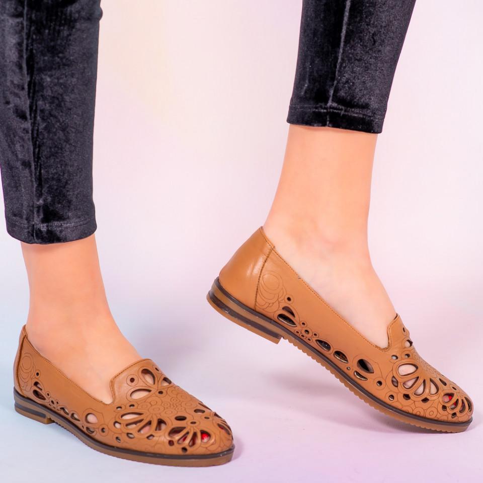 Papuci piele naturala Murs maro