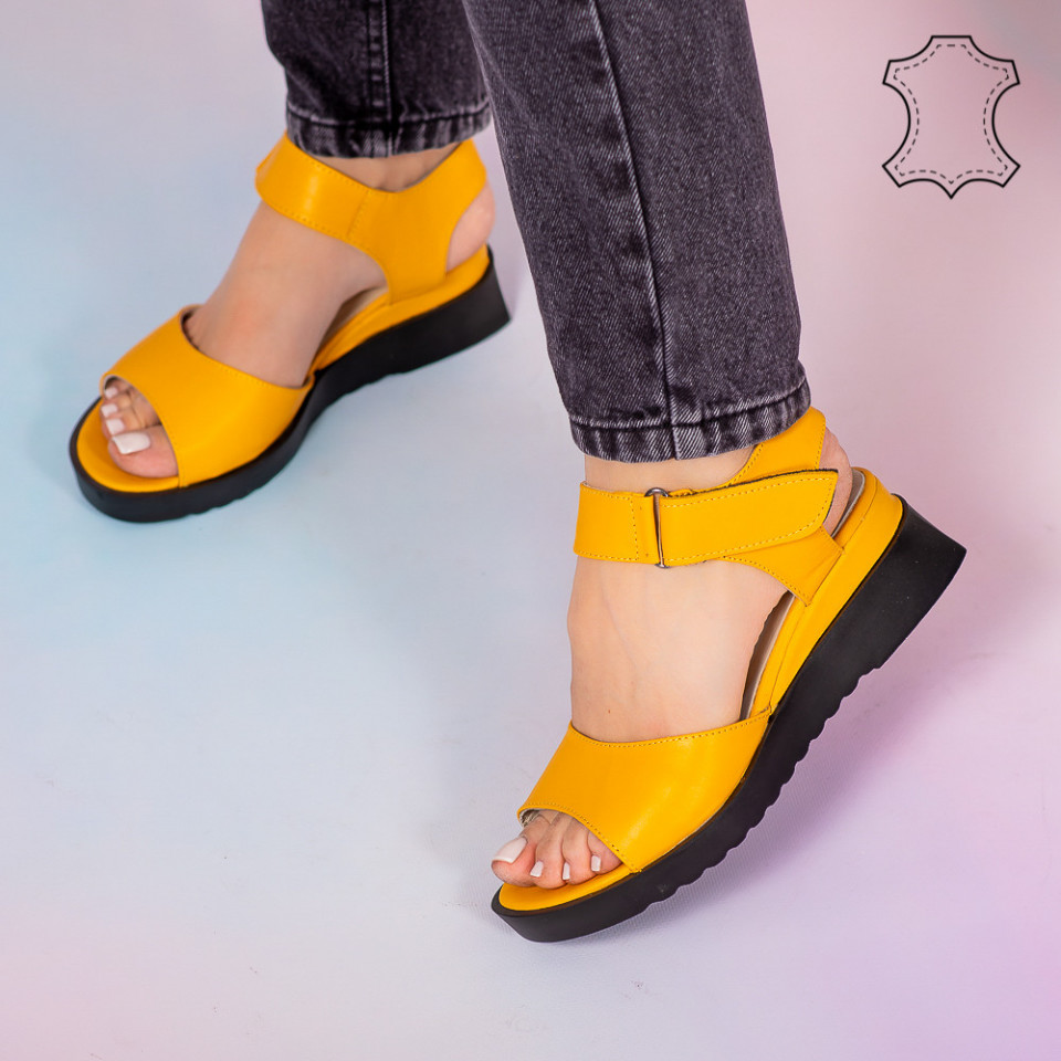Sandale piele naturala Bog galbene