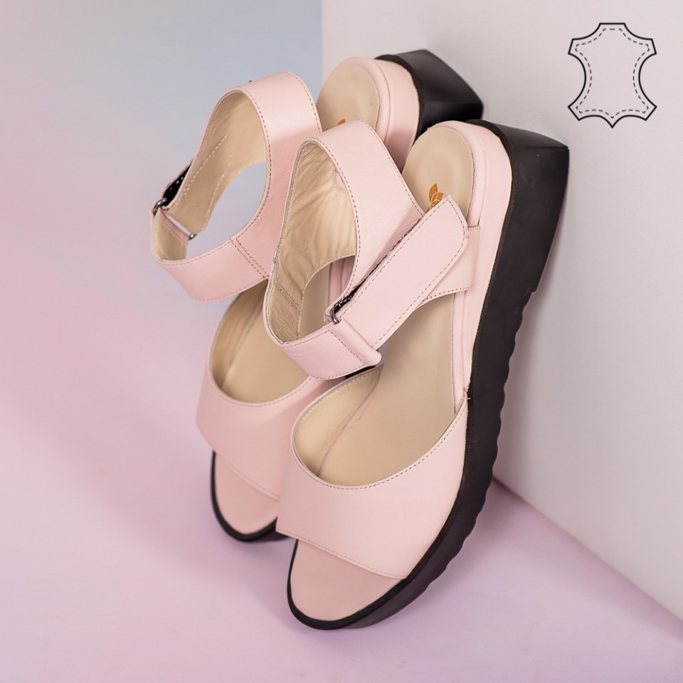Sandale piele naturala Bog roz