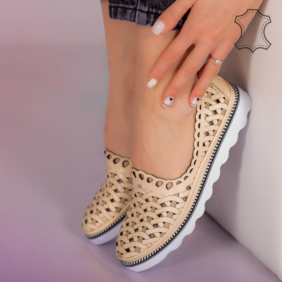 Pantofi piele naturala Bix bej