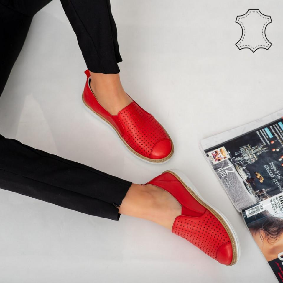 Pantofi piele naturala Erim rosii