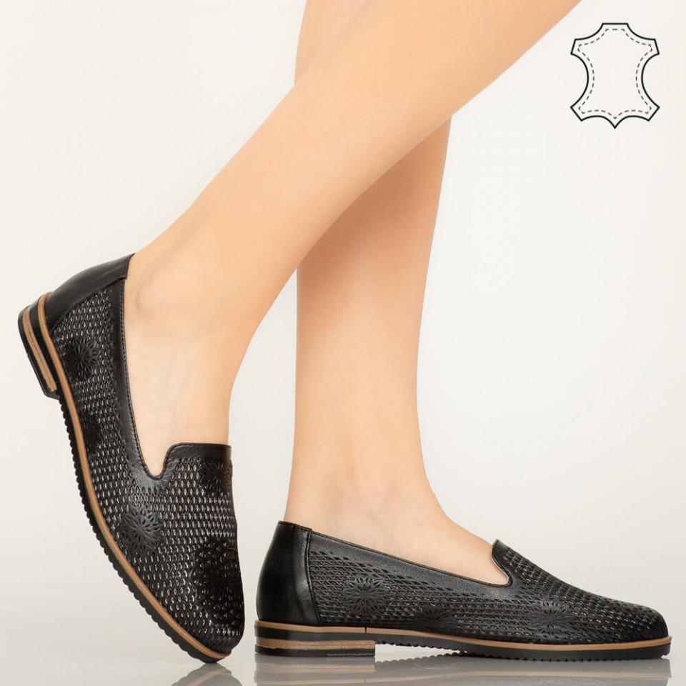 Pantofi piele naturala Guen negri