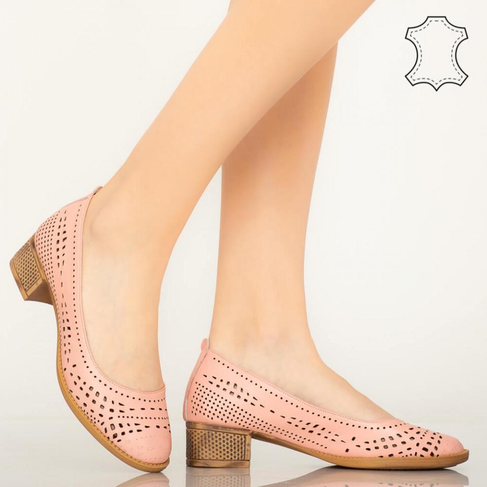 Pantofi piele naturala Lagon roz