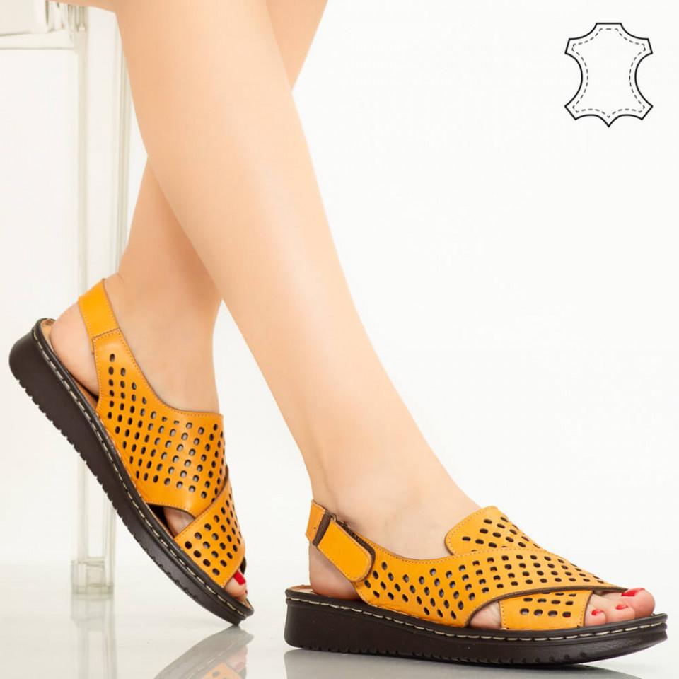Sandale piele naturala Cox galbene