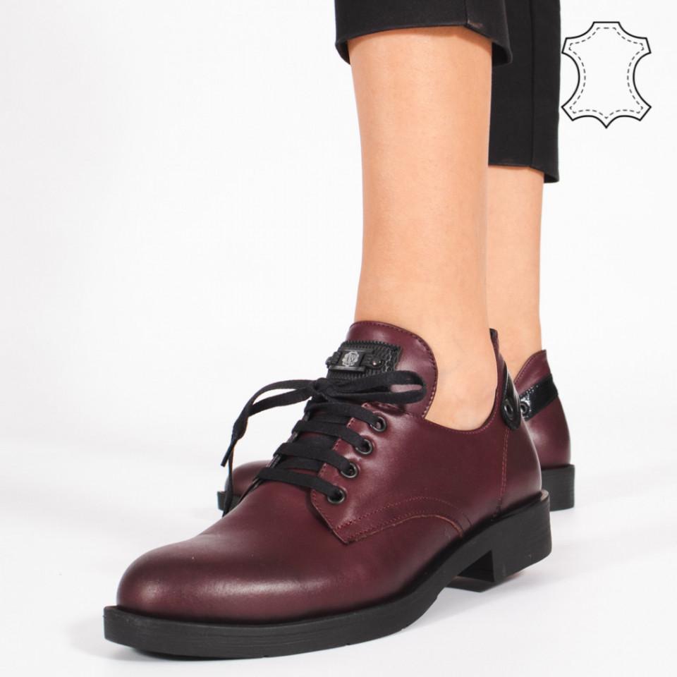 Pantofi Piele Naturala BRAN Bordo