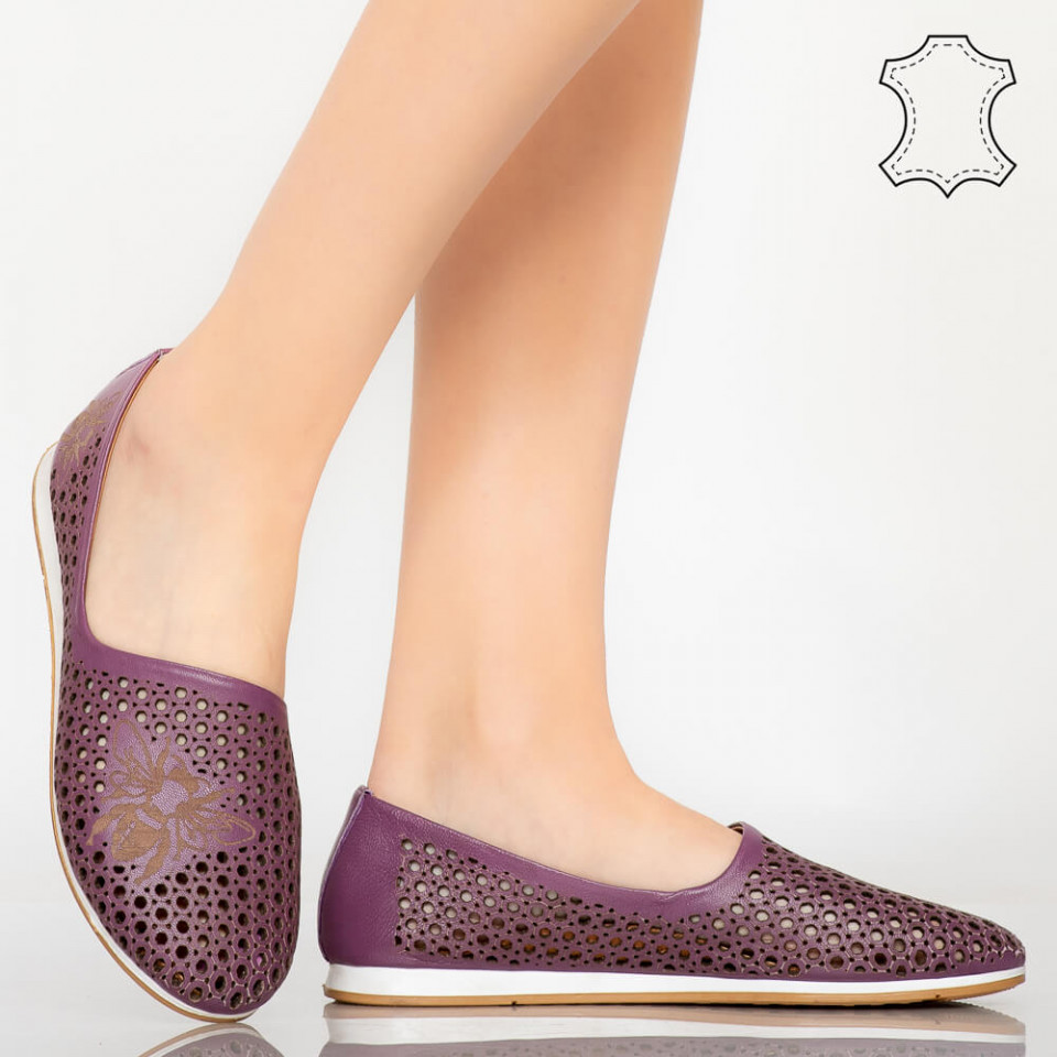 Pantofi piele naturala Kawa mov