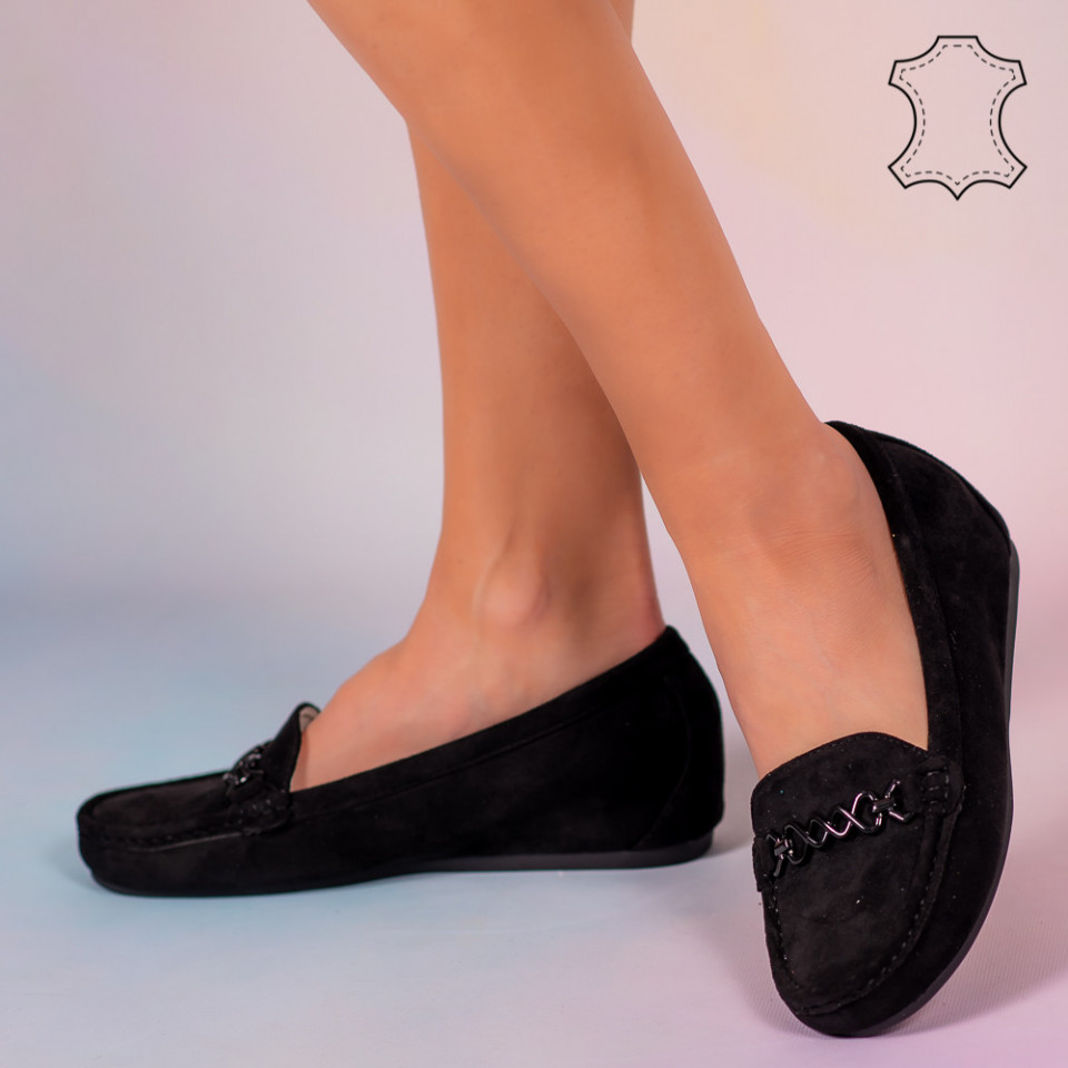 Pantofi piele naturala Melle negri