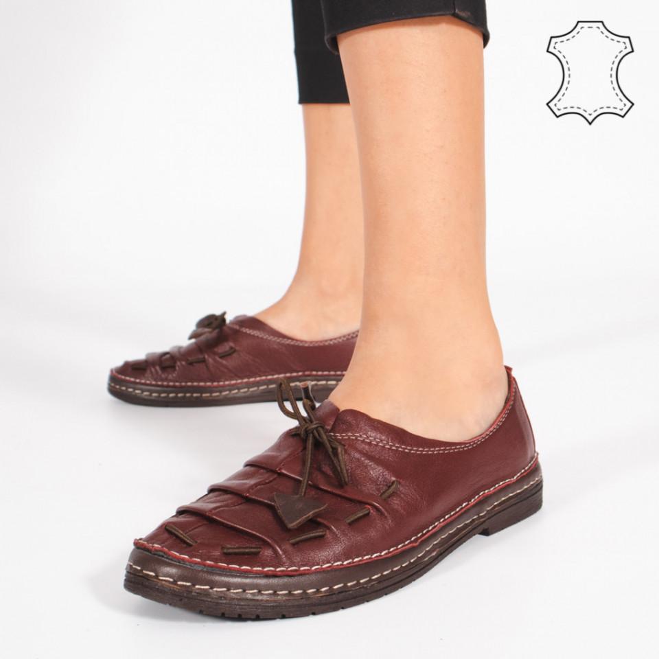 Pantofi Piele Naturala NICA Bordo