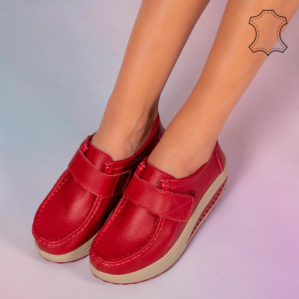 Pantofi piele naturala Metas rosii