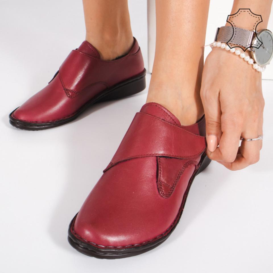 Pantofi Piele Naturala KAS Bordo