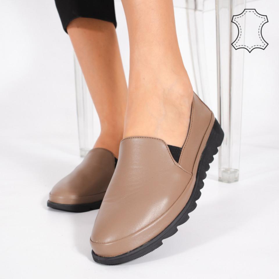 Pantofi Piele Naturala MUDE Maro