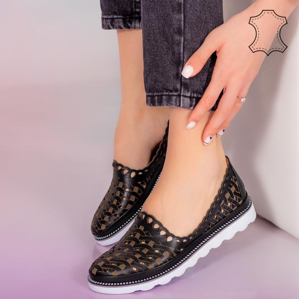 Pantofi piele naturala Bix negri