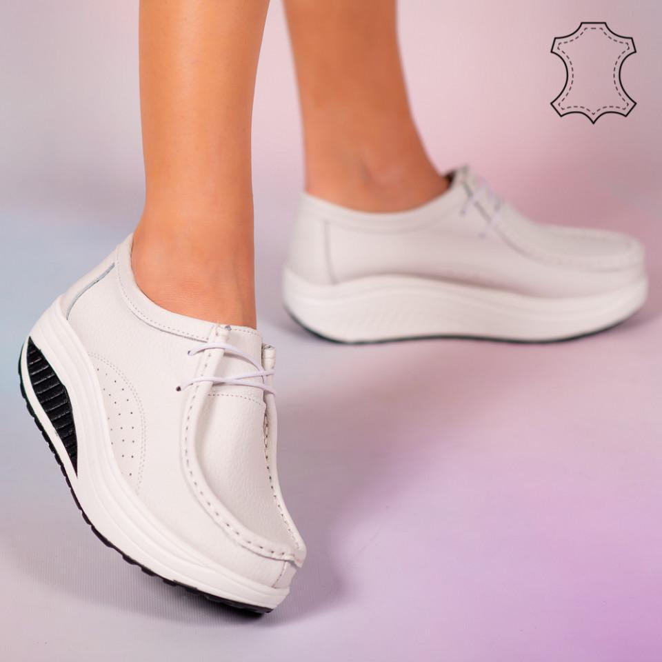 Pantofi piele naturala Maxo albi