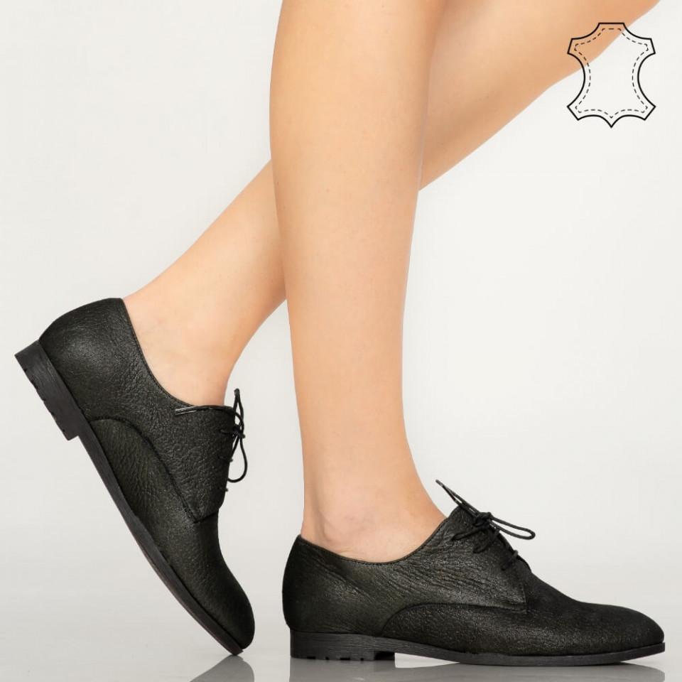 Pantofi piele naturala Loy negri