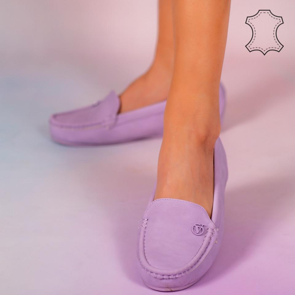 Pantofi piele naturala Mariu mov