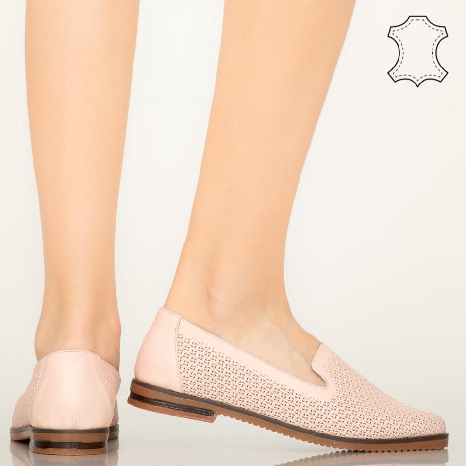 Pantofi piele naturala Velha roz