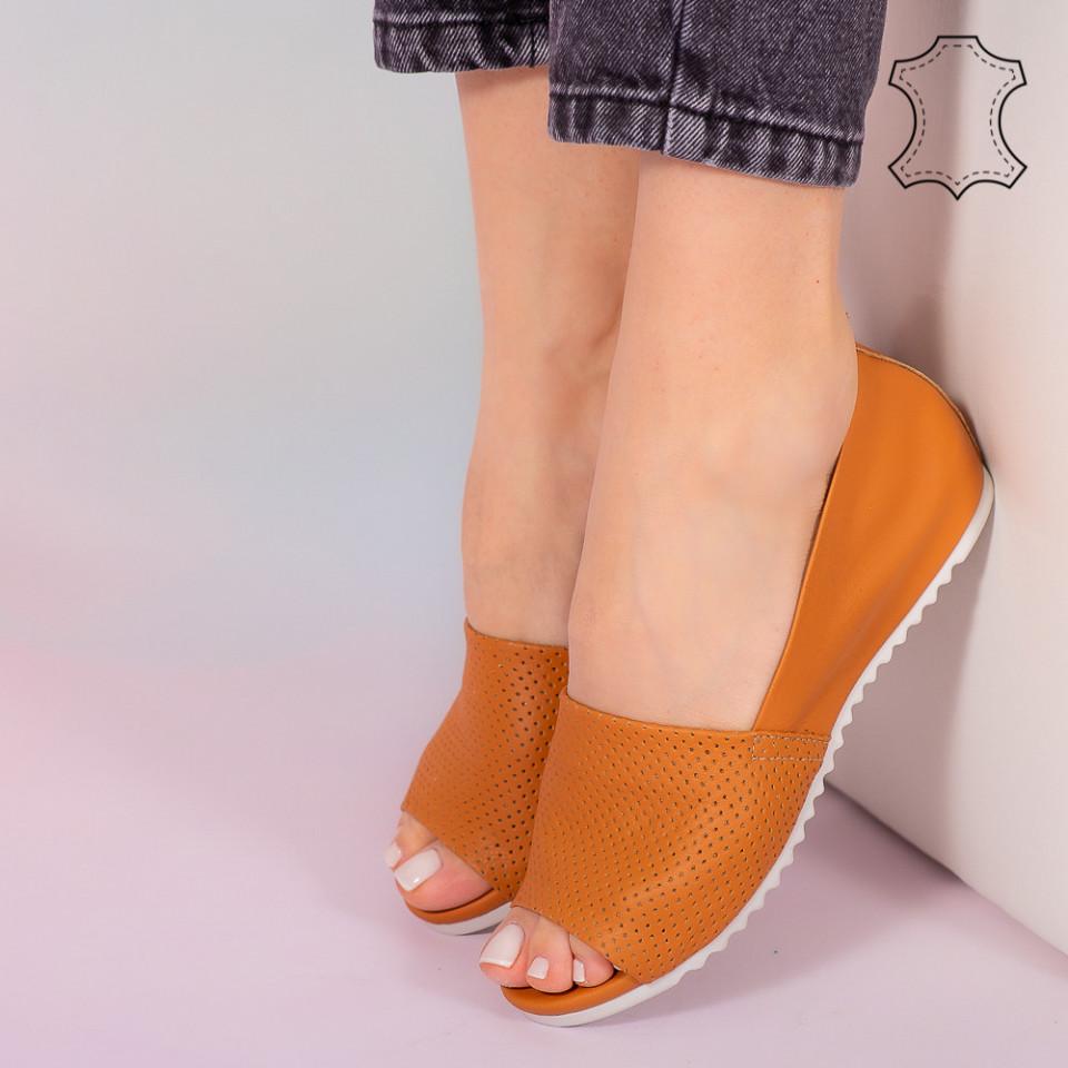 Sandale piele naturala Bet portocalii