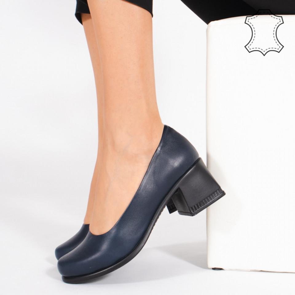 Pantofi Piele Naturala FELY Albastru