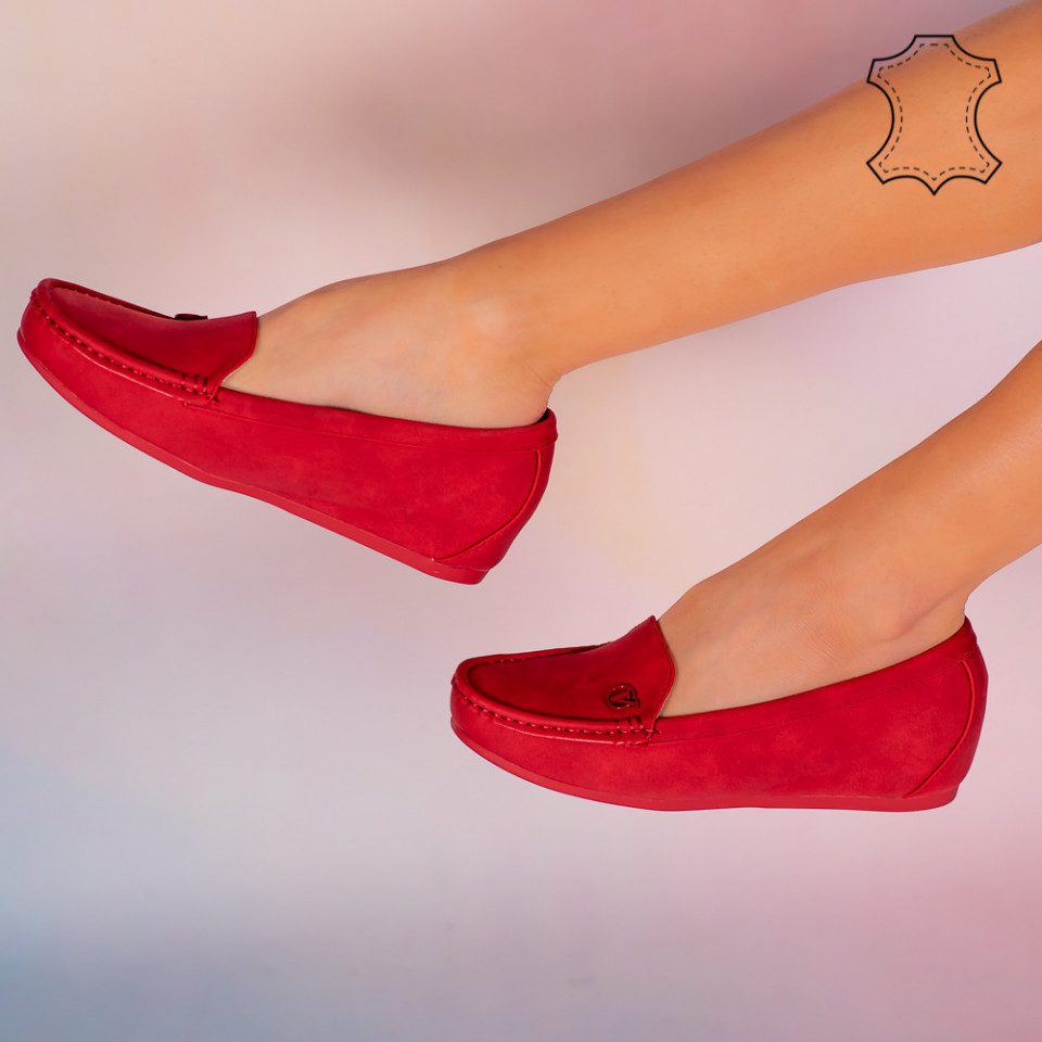 Pantofi piele naturala Mariu rosii