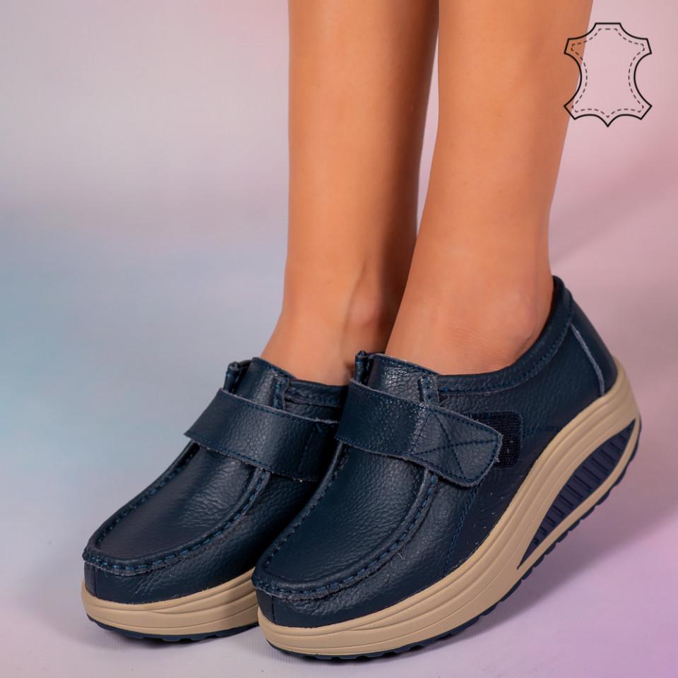 Pantofi piele naturala Metas albastri