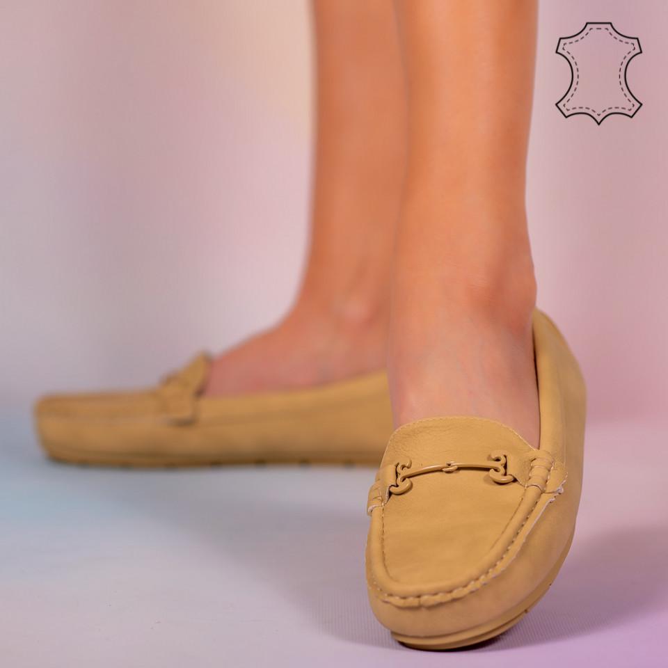 Pantofi piele naturala Muli galbeni