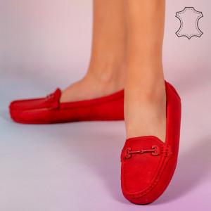 Muli piros természetes bőr cipő